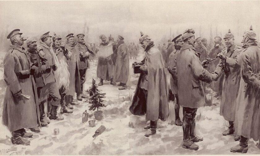 """Rycina z """"The Illustrated London News's"""" z 9 stycznia 1915 r. przedstawiająca rozejm bożonarodzeniowy"""