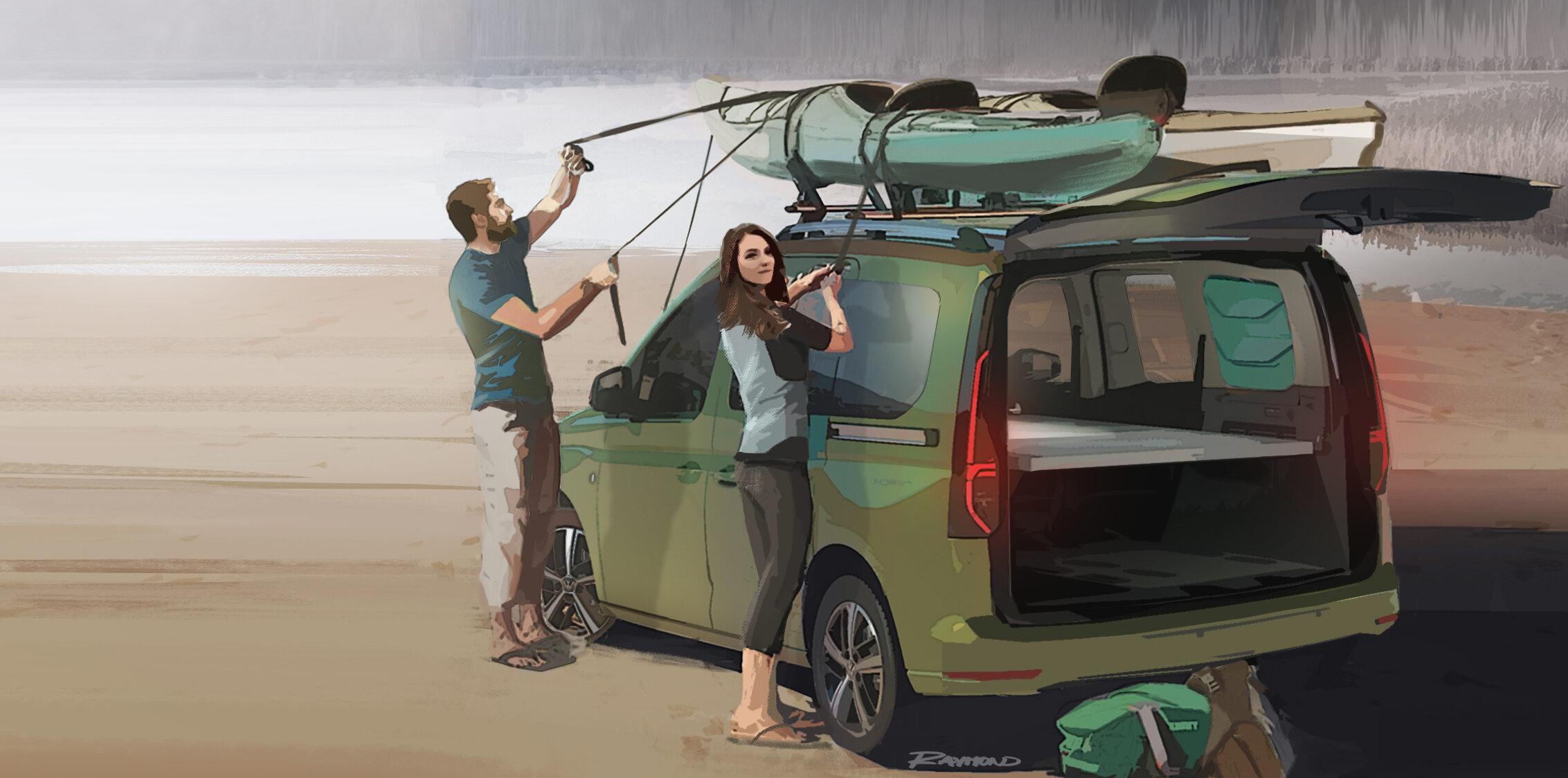 Rysunki nowego Volkswagena Caddy Beach