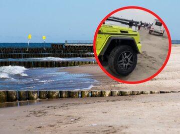 Samochód utknął na plaży w Kołobrzegu