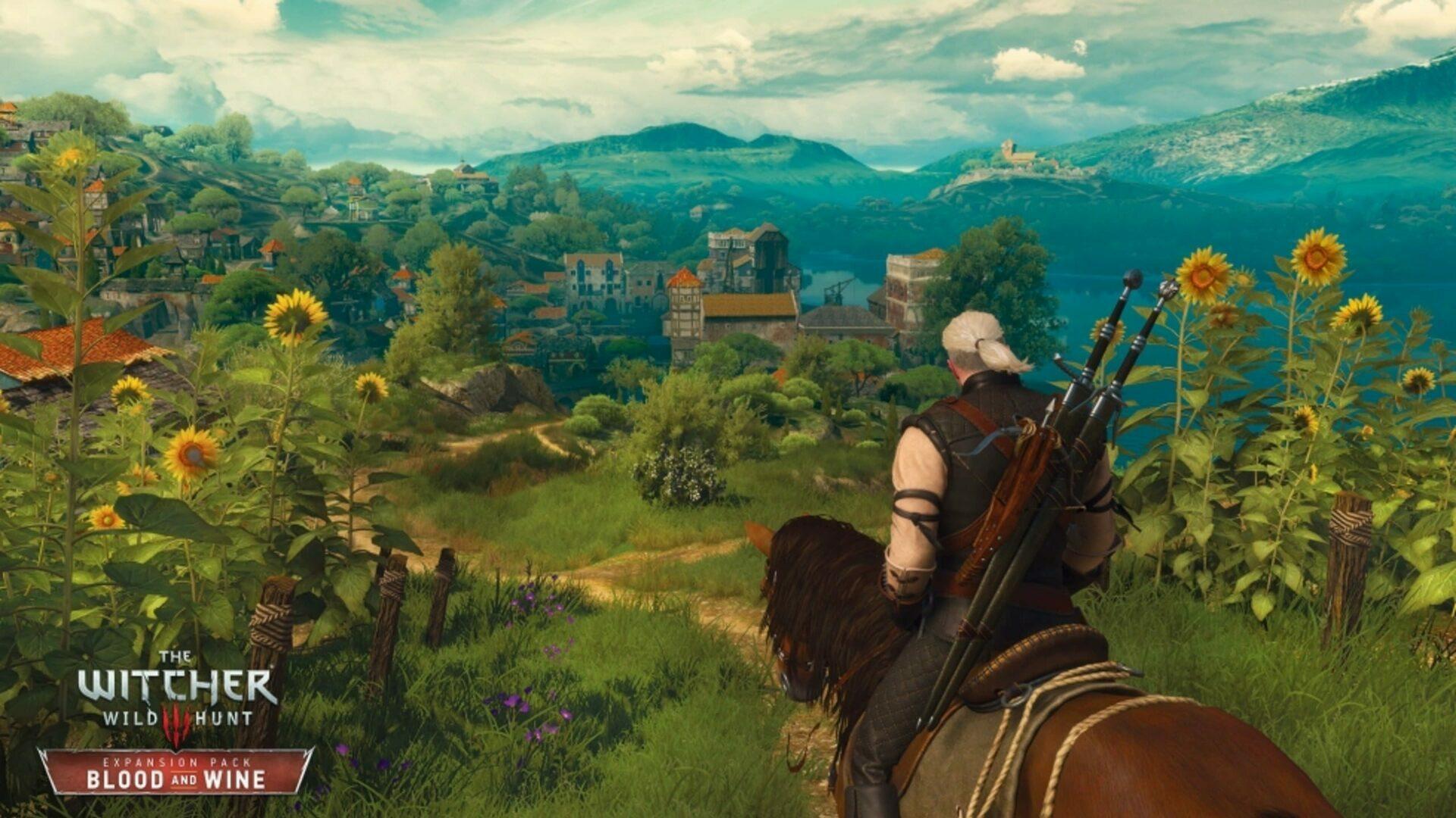Screen z gry Wiedźmin 3. Geralt na koniu