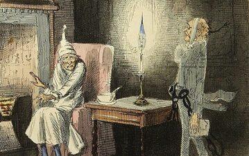 """Scrooge odwiedzany przez ducha Marleya. Ilustracja Johna Leecha z pierwszego wydania """"Opowieści wigilijnej"""""""