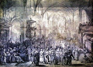 Sejmik w kościele, rys. Jana Piotra Norblina