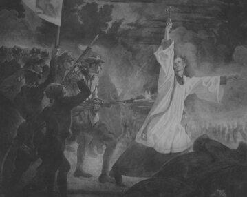 """""""Śmierć księdza Skorupki"""", obraz Jana Henryka Rosena"""