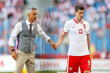 Sousa i Lewandowski w meczu z Islandią