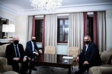 Spotkanie Jarosława Kaczyńskiego, Mateusza Morawieckiego i Viktora Orbana