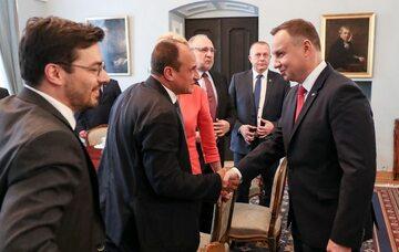 Spotkanie przedstawicieli klubu Kukiz'15 z prezydentem Andrzejem Dudą