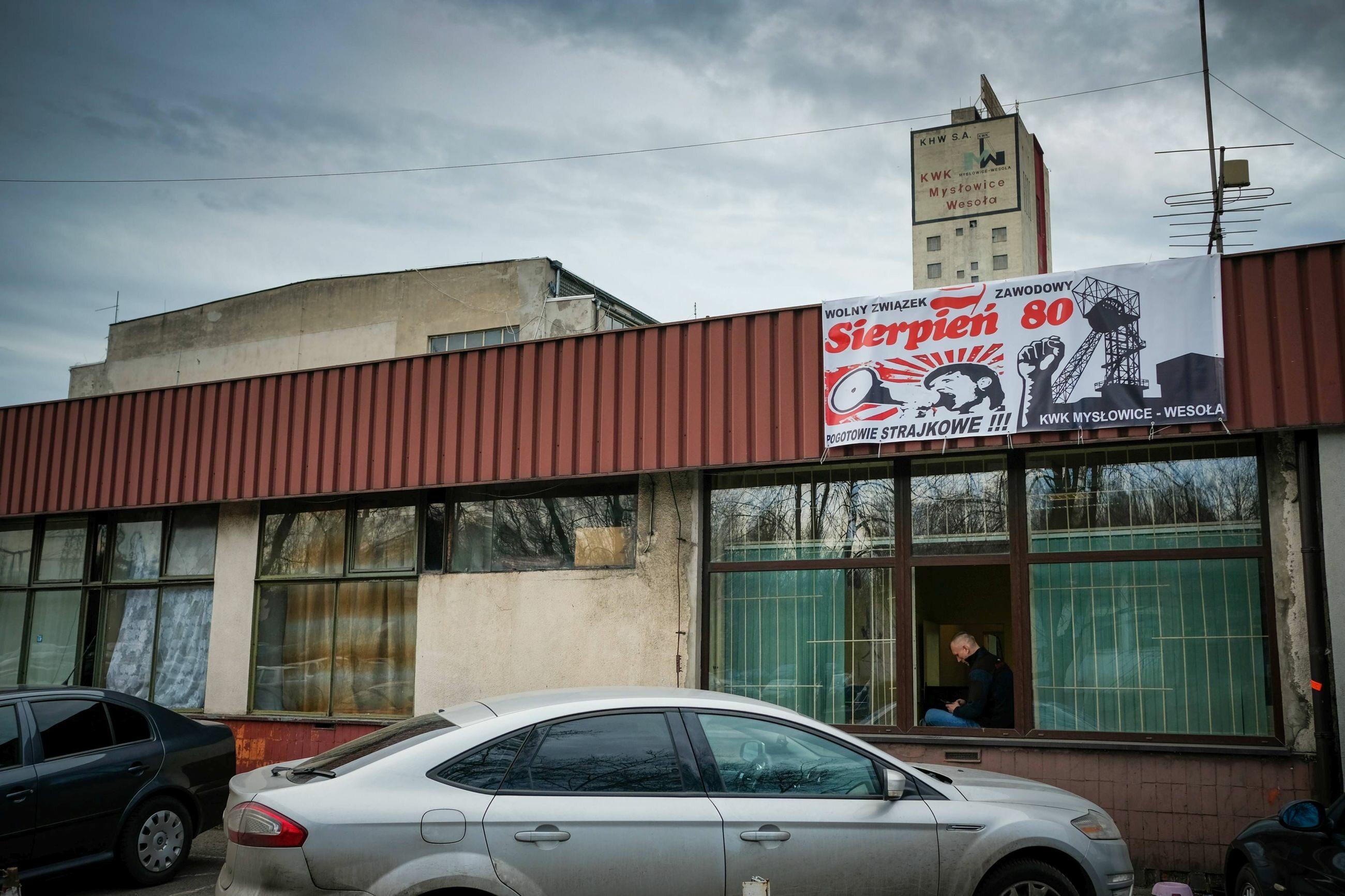 Strajk ostrzegawczy górników z PGG, kopalnia  KWK Mysłowice-Wesoła