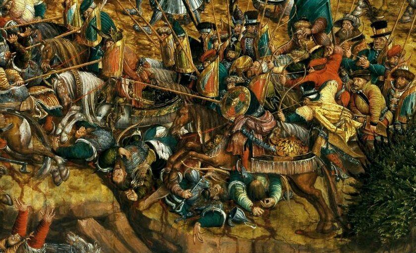 Szarża raców z tarczami (protoplastów polskiej husarii), fragment obrazu bitwa pod Orszą