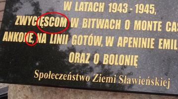 Tablica na cmentarzu w Sławnie