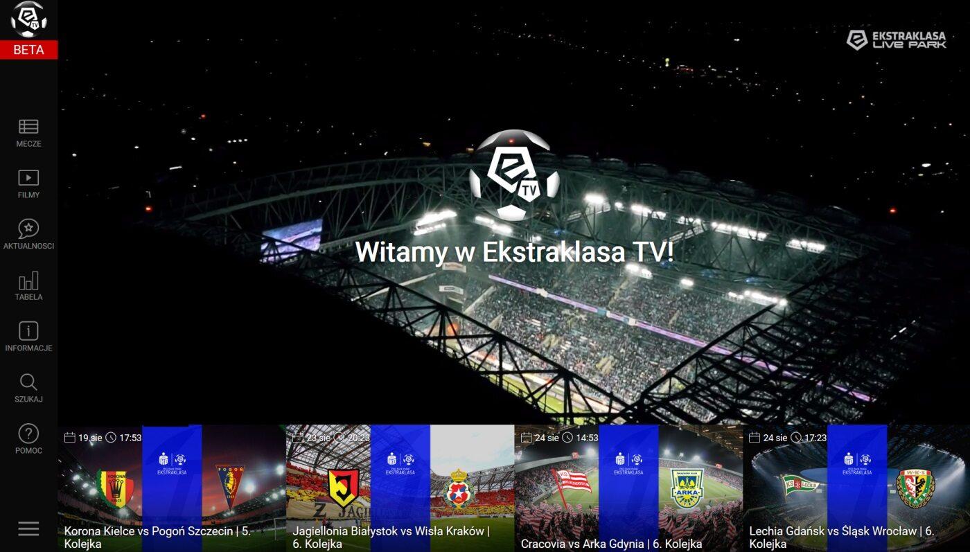 Testowy wygląd strony startowej usługi Ekstraklasa.TV