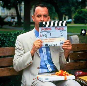 "Tom Hanks na planie filmu ""Forrest Gump"""