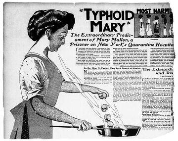 """""""Tyfusowa Mary"""" na ilustracji z gazety z 1909 roku"""