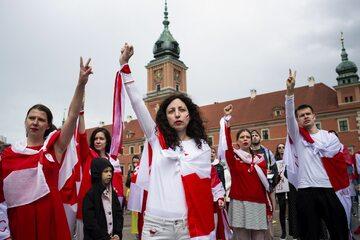 Warszawa. Demonstracja poparcia dla prześladowanych Białorusinów. 29 maja