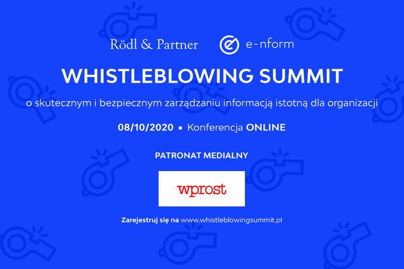 WHISTLEBLOWING SUMMIT 2020 (konferencja online) o skutecznym i bezpiecznym zarządzaniu informacją istotną dla firmy