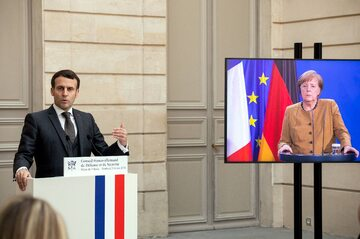 Wideokonferencja Emmanuela Macrona i Angeli Merkel