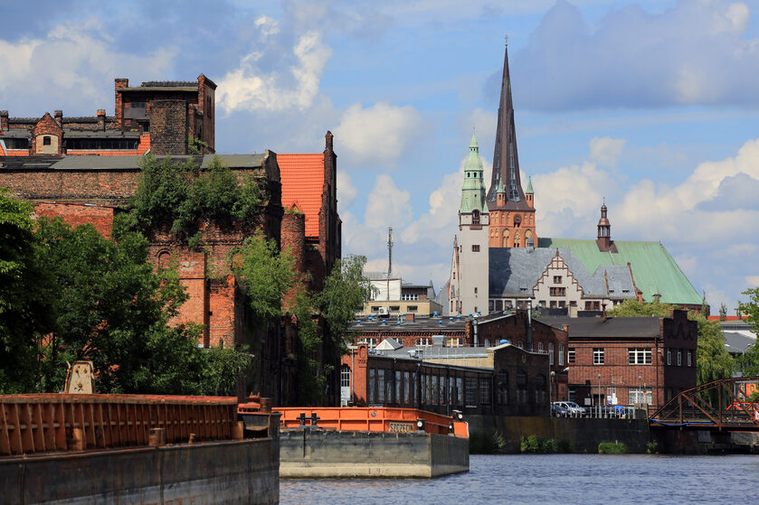 Widok Szczecina od strony Odry