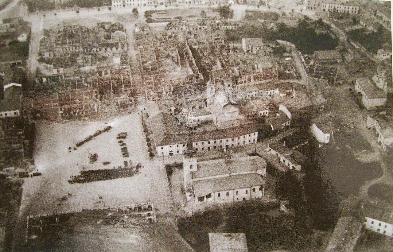 Wieluń po bombardowaniu. Zniszczenia centrum z lotu ptaka