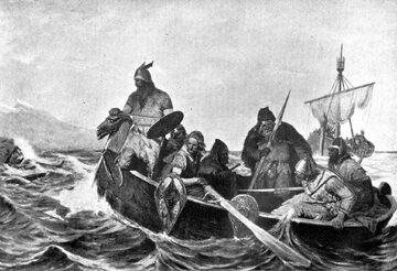 Wikingowie na łodzi, Oscar Wergeland
