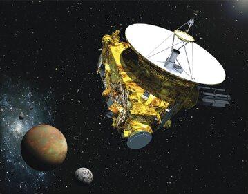 Wizja artystyczna sondy New Horizons podczas przelotu przez układ Plutona