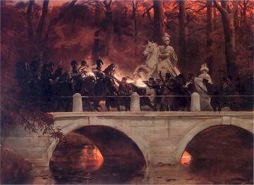 Wojciech Kossak, Starcie belwederczyków z kirasjerami rosyjskimi na moście w Łazienkach 29 listopada 1830