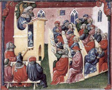 Wykład uniwersytecki (ilustracja z drugiej połowy XIV w.)