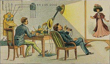 Wyobrażania świata po roku 2000 na francuskiej pocztówce z początku XX wieku