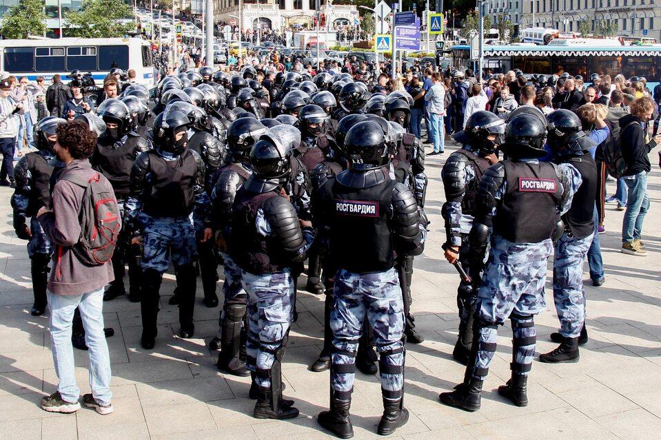 Zatrzymania podczas protestu w Moskwie