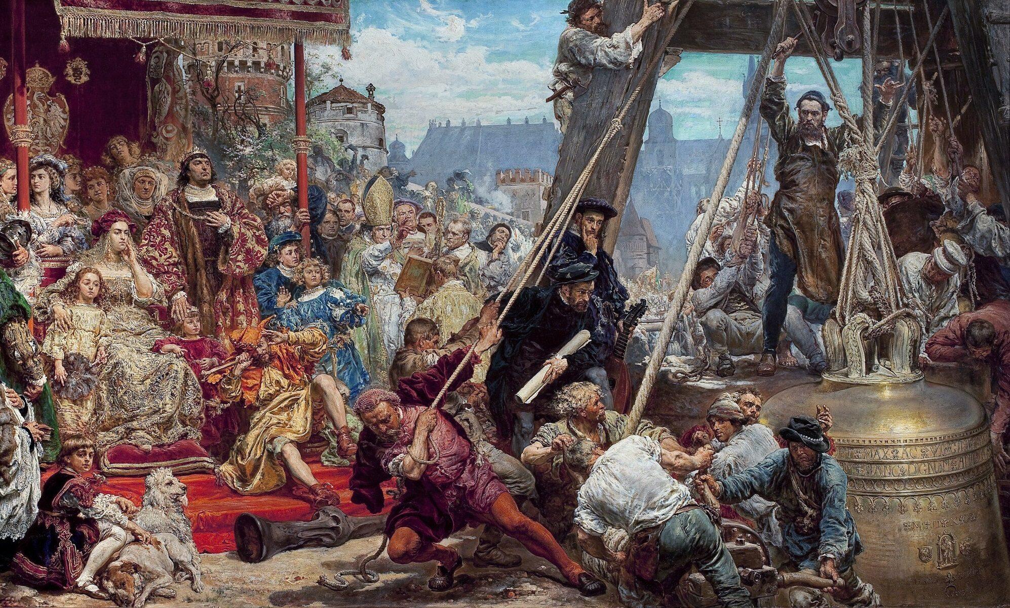"""""""Zawieszenie dzwonu Zygmunta"""" obraz Jana Matejki z 1874"""