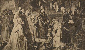 Zbigniew Oleśnicki pokazuje Jagielle zniszczony przez husytów obraz Matki Boskiej Częstochowskiej