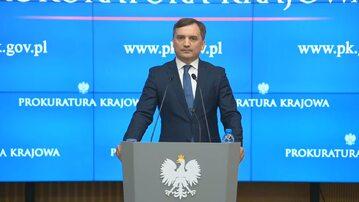 Zbigniew Ziobro na konferencji prasowej w Prokuraturze Krajowej