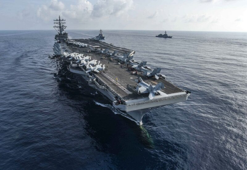 Zdjęcie lotnicze lotniskowca USS Ronald Reagan