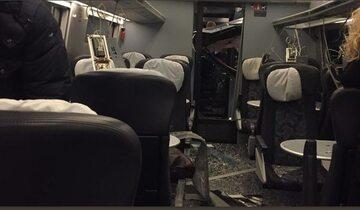 Zdjęcie z wnętrza pociągu pasażerskiego