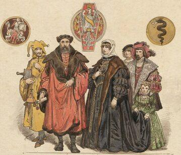 Zygmunt Stary i Bona Sforza z dworem